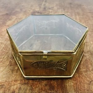 Vintage Made in India Glass Brass Fish Trinket Box